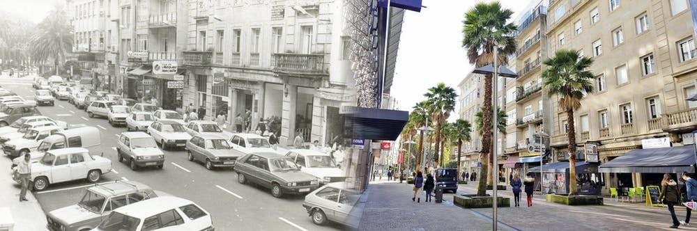 Antes y después de la transformación de Pontevedra, España, de calles congestionadas por el tráfico a un centro de la ciudad habitable.