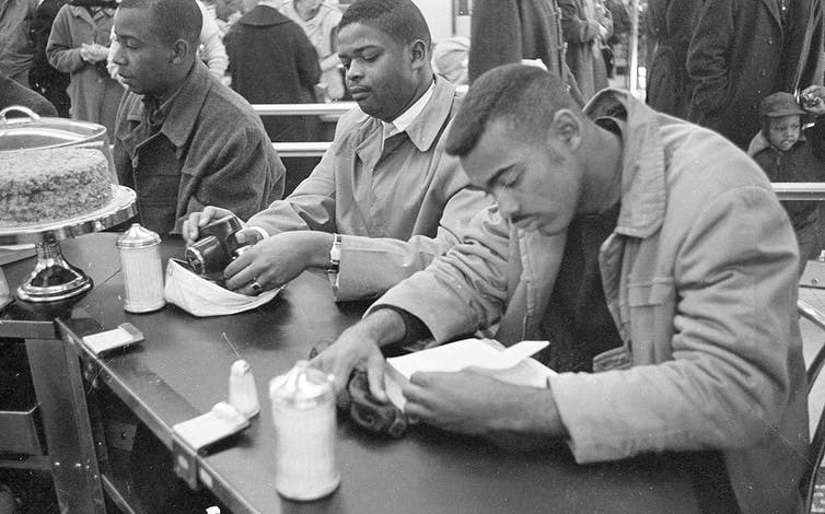 Civil rights protesters at a sit-in, North Carolina, 1960.