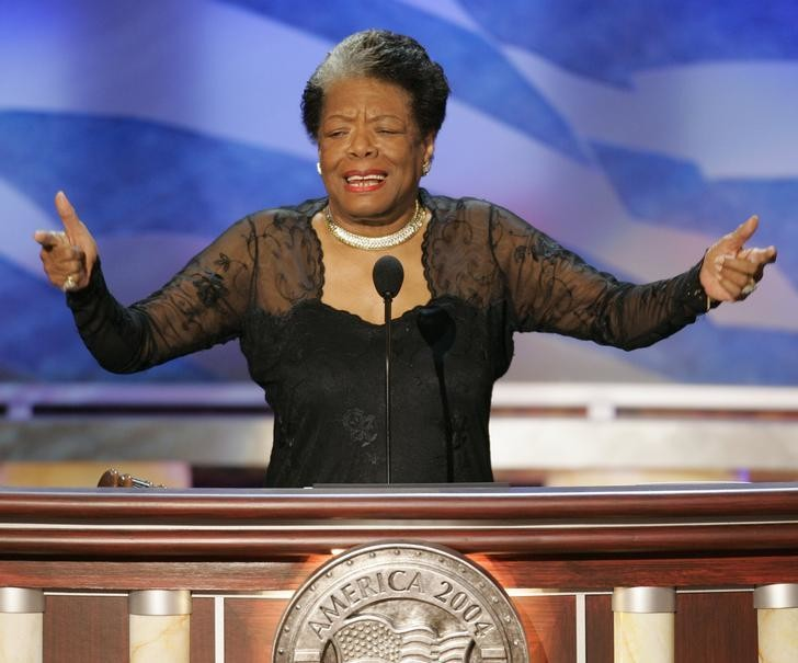 Poet and activist Maya Angelou speaks before delegates during the second night of the 2004 Democratic National Convention at the FleetCenter in Boston, July 27, 2004. More than 4,000 delegates to the convention will nominate John Kerry to challenge President George W. Bush in a November battle for the White House that is essentially a dead heat. REUTERS/Gary Hershorn US ELECTION  HB/