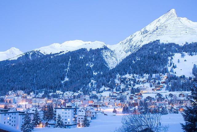 Dusk falls on Davos