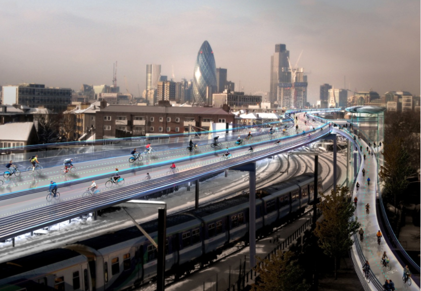 Pic cap: London's proposed SkyCycle would see cycle lanes suspended above train lines
