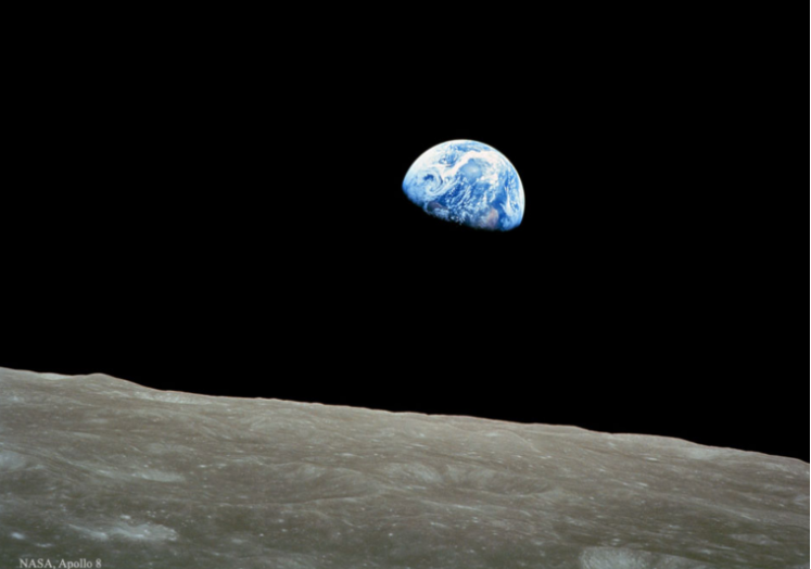 """This iconic 1968 """"Earthrise"""" photo."""