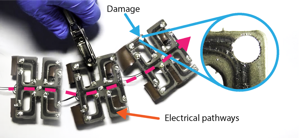 A soft robot with a stretchable and electrically conductive circuit that is self-healing.