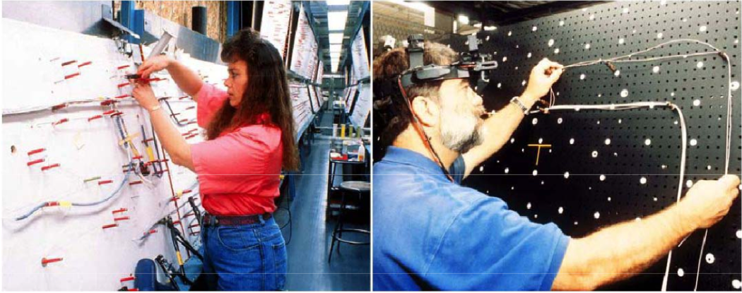Factory workers at Boeing using traditional wiring instructions vs an AR headset to wire aeroplanes