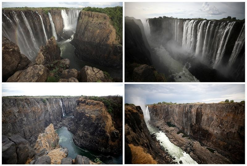 A combination picture shows water flowing (top) and low-water levels after a prolonged drought (bottom) at Victoria Falls, Zimbabwe taken January 17, 2019 and December 4, 2019. REUTERS/Staff - RC2JOD9NB64R