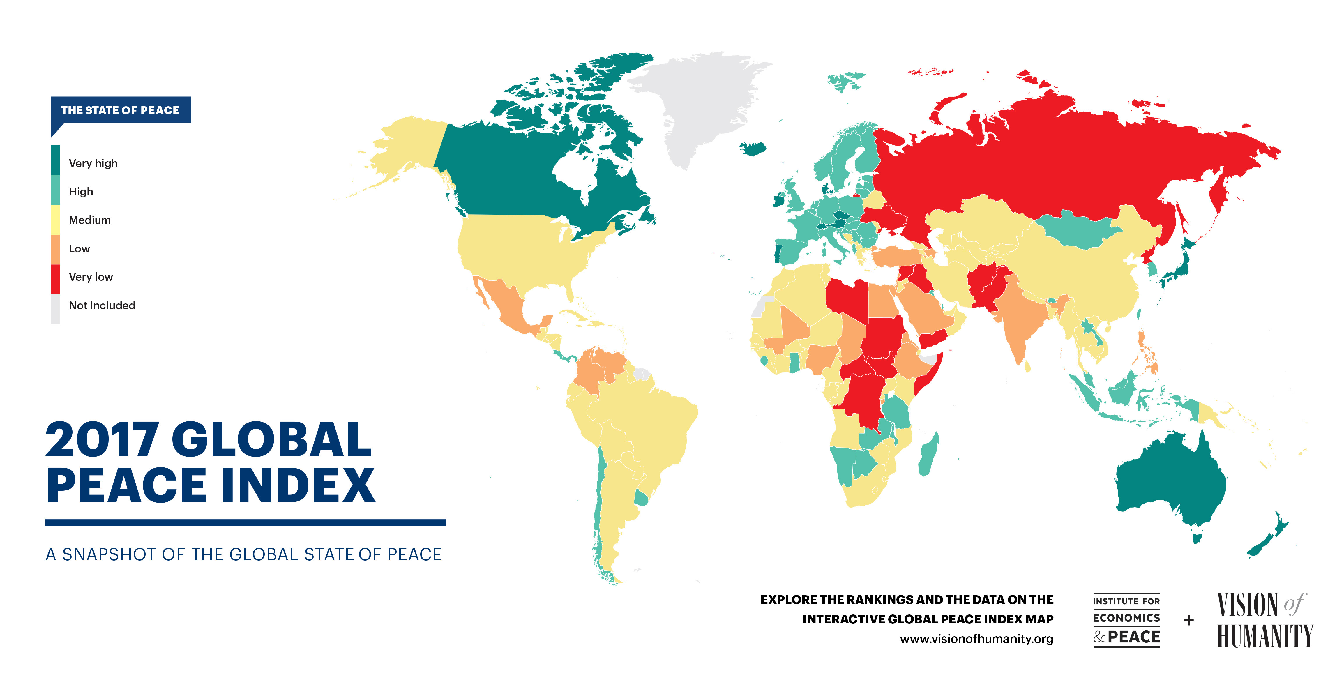 This map shows the relative state of peace across the globe
