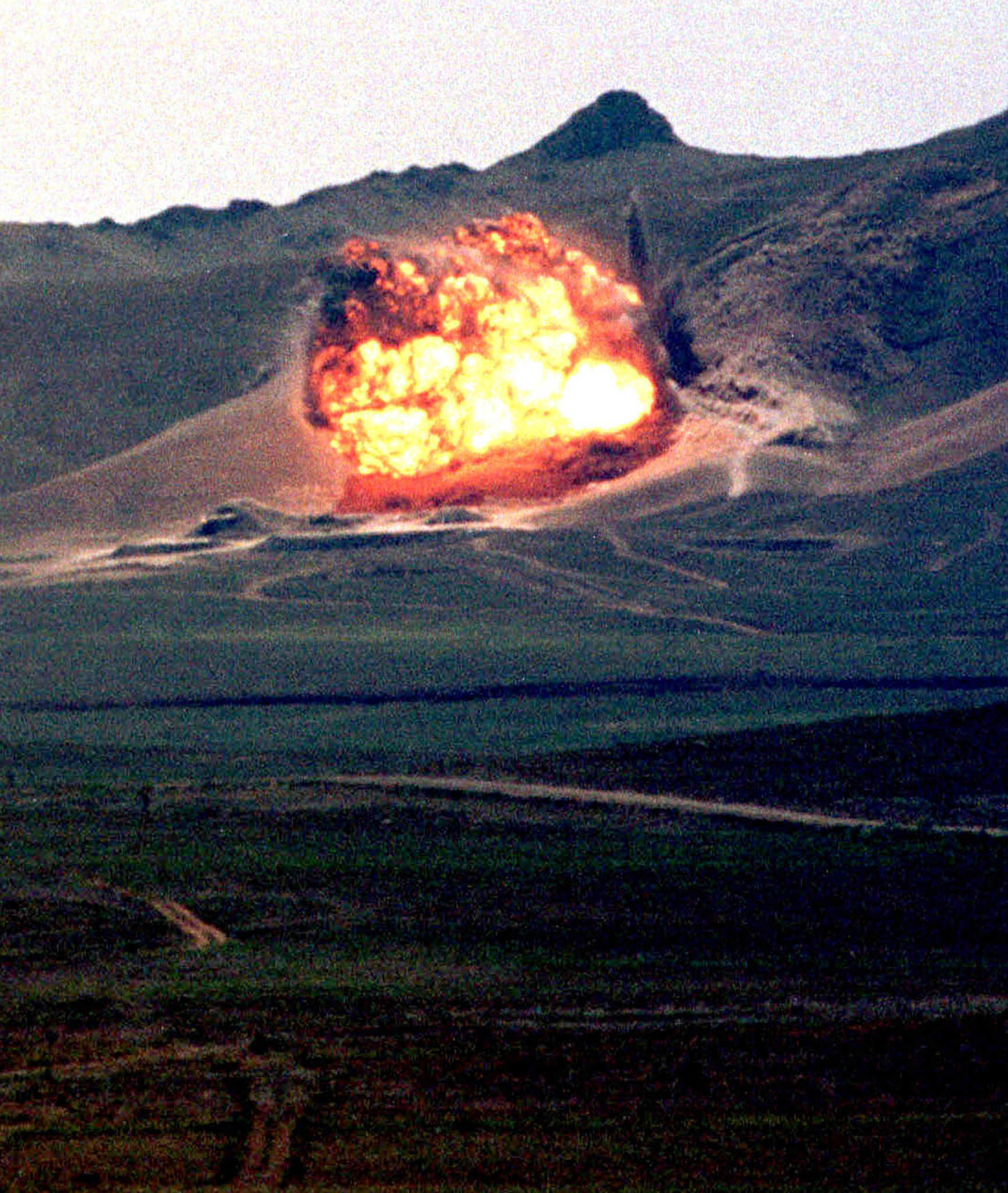 An explosion during the demolition of the Semipalatinsk test site in July 2000