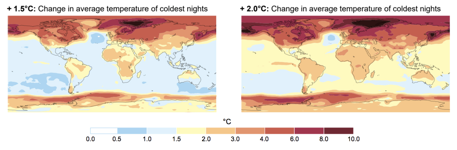 these color-coded maps show projected changes for average temperatures with 1.5C and 2C of global warming, compared to pre-industrial levels.
