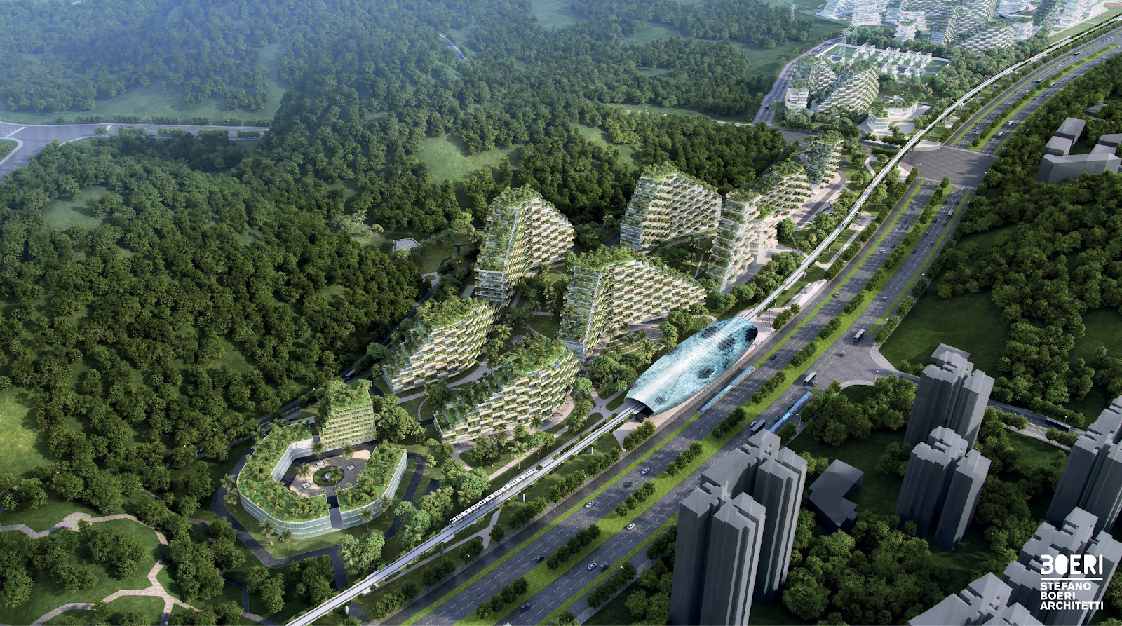 The Liuzhou Forest City will have more than 40,000 trees and 1 million plants on buildings.