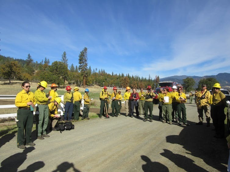 Briefing before a prescribed fire training exercise for women in northern California.