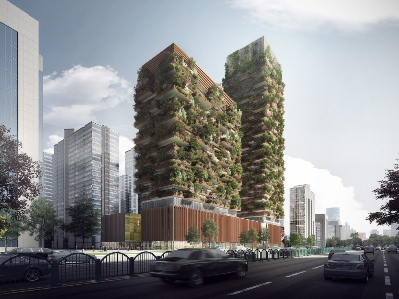 An architectural rendering of the Nanjing Green Towers.