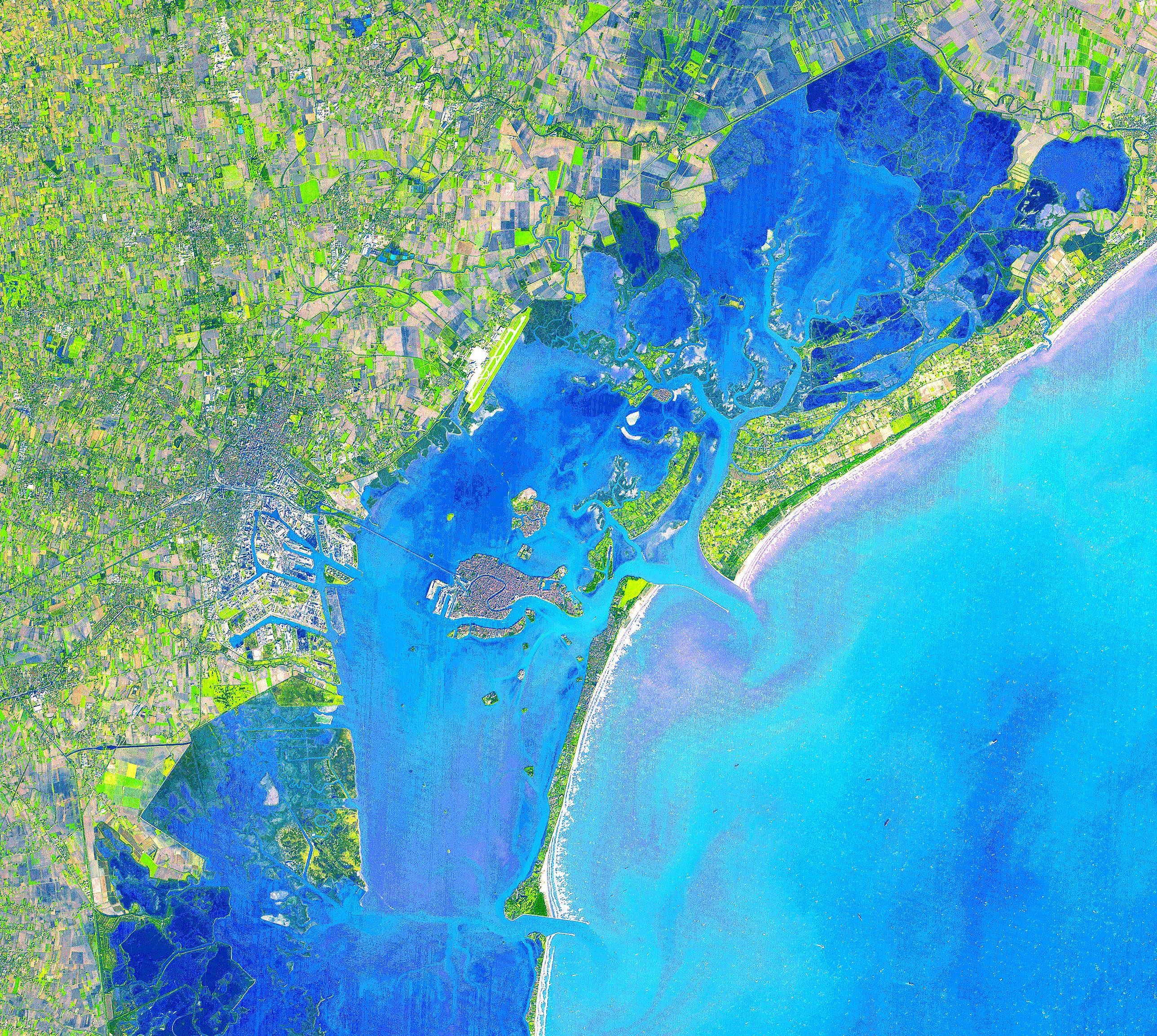 The city of Venice as seen from space. Image taken by ASTER.