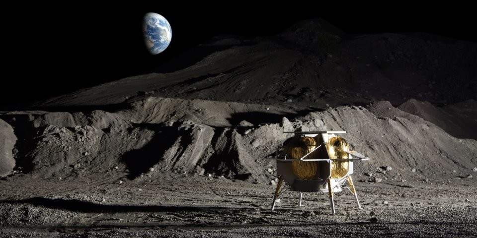 An illustration of Astrobotic Technology's Peregrine moon lander.