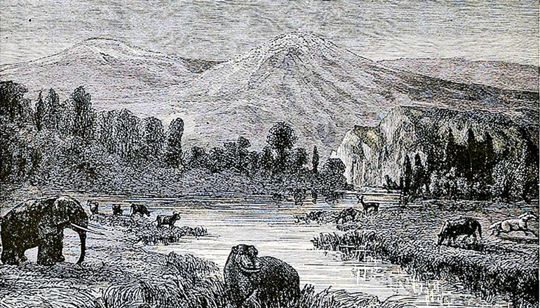 A wood engraving by Eduard Riou depicts a landscape view of the Pliocene. The image was etched in the late 1800s, when CO2 levels hovered around 295 ppm