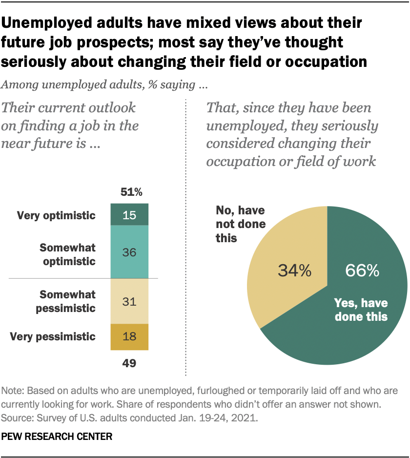 A chart showing the mixed views of unempolyed adults about their future job prospects