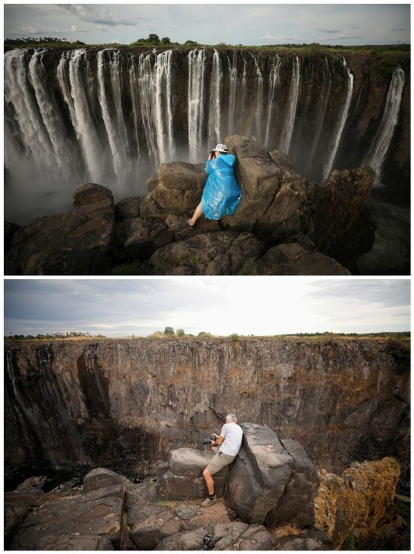 A combination picture shows visitors taking pictures in front of flowing water (top) and dry cliffs following a prolonged drought (bottom) at Victoria Falls, Zimbabwe taken January 17, 2019 and December 4, 2019. REUTERS/Mike Hutchings     TPX IMAGES OF THE DAY - RC2PPD98R4AD