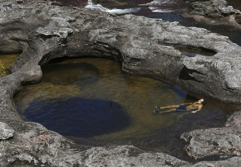 An eco-tourist swims in Cano Cristales in the Sierra de La Macarena National Park in Meta province November 24, 2013. The park is located in the south-east of the Andean nation and the river is locally referred to as the