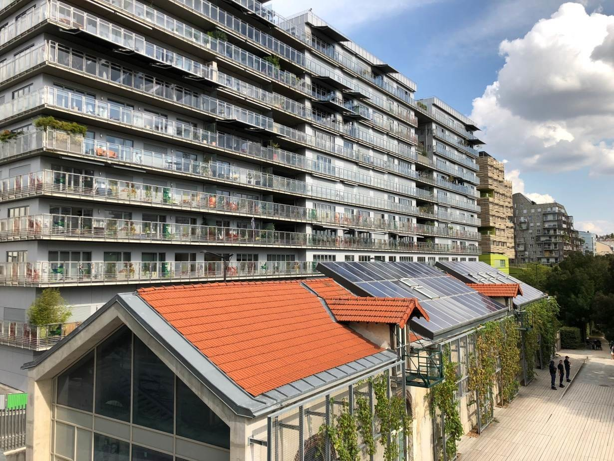"Homes fitted with solar panels in the Clichy-Batignolles ""eco-neighbourhood"" in Paris, France, August 31, 2018."