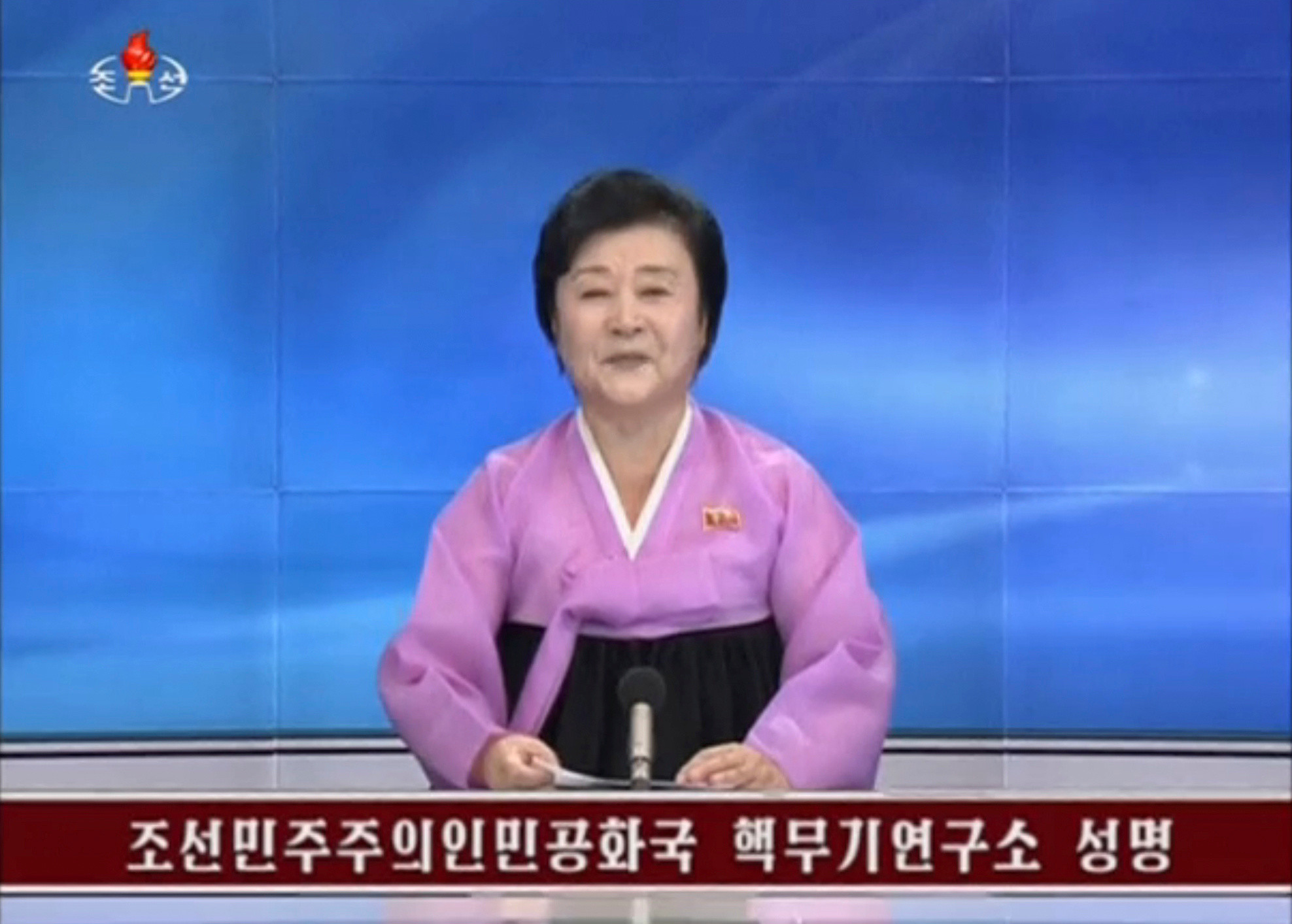 A North Korean newsreader announces the test