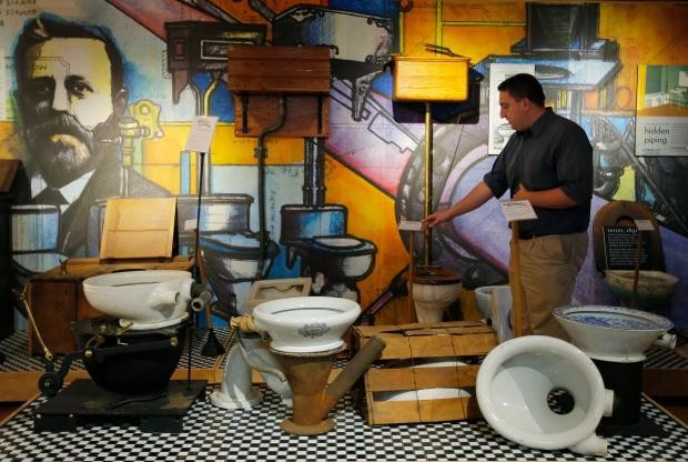 The history of toilets on display at the Plumbing Museum in Watertown, Mass.