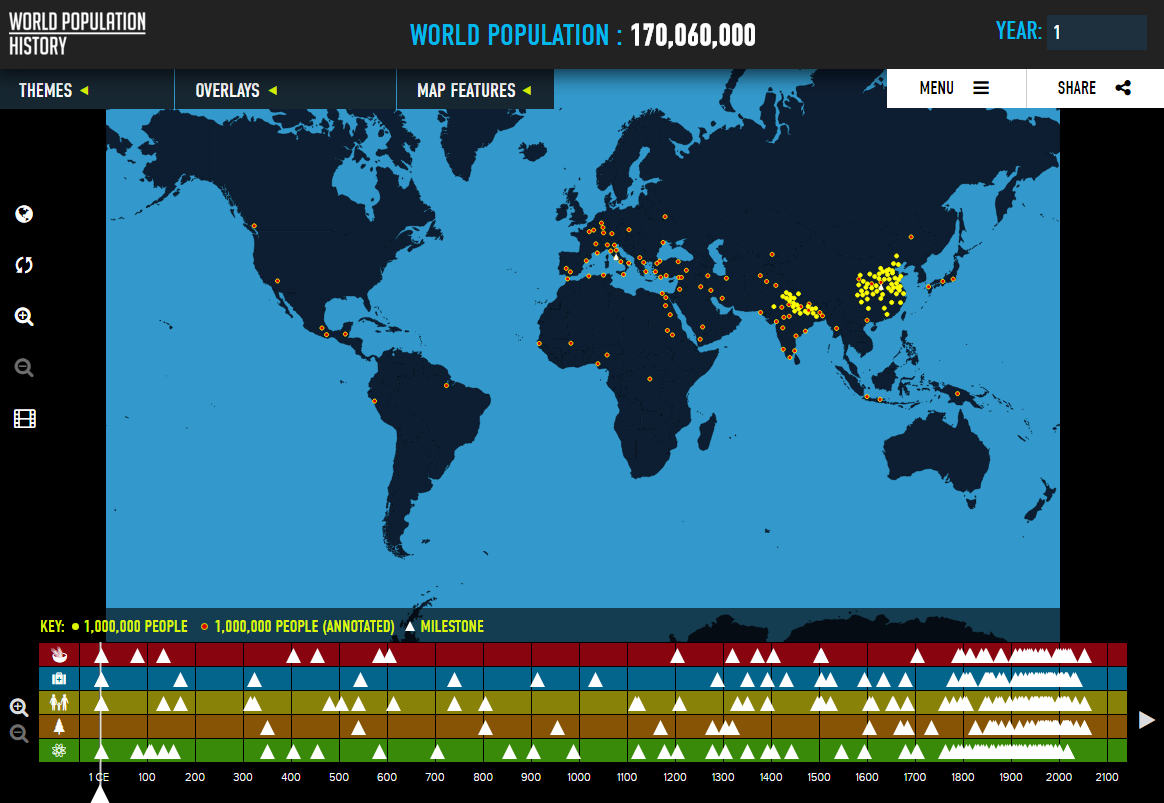 The World's Population in 1 CE.