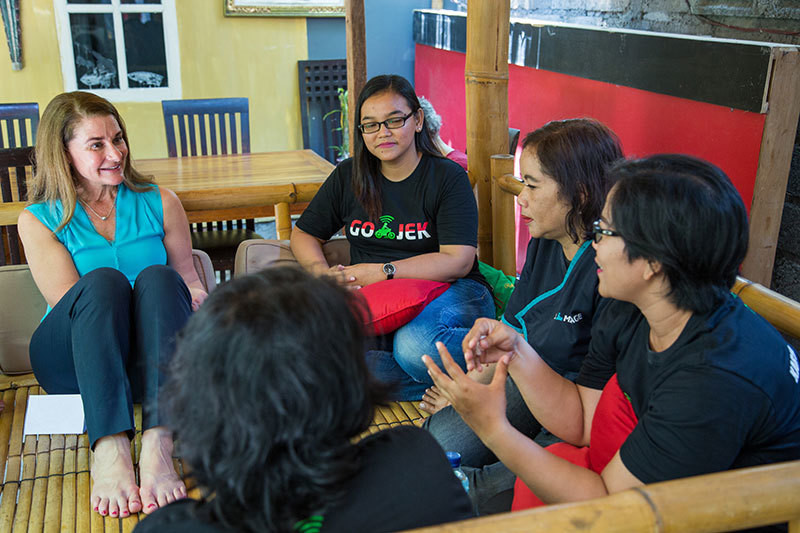 Discussing the power of mobile technology with women who drive for GO-JEK, a technology platform providing transportation and other on-demand services in Indonesia.