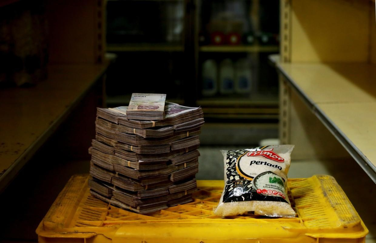 A kilogram of rice cost 2,500,000 bolivares ($0.38) before Aug. 20.