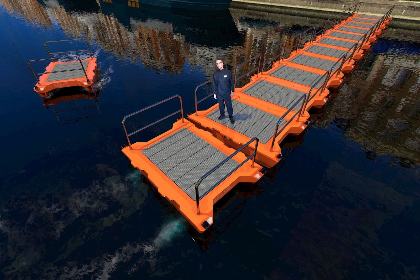 'On-demand infrastructure': the boats can form temporary bridges.