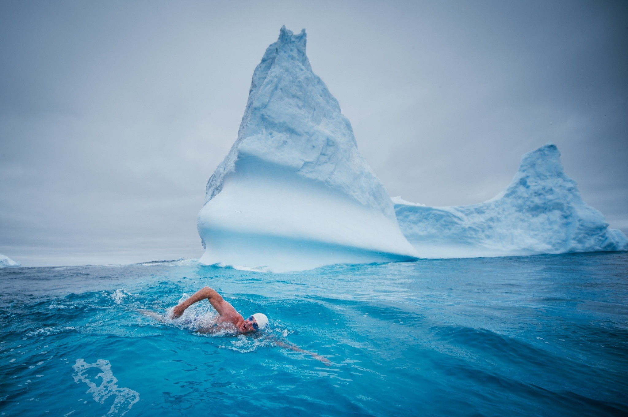 Lewis Pugh swimming in the Ross Sea