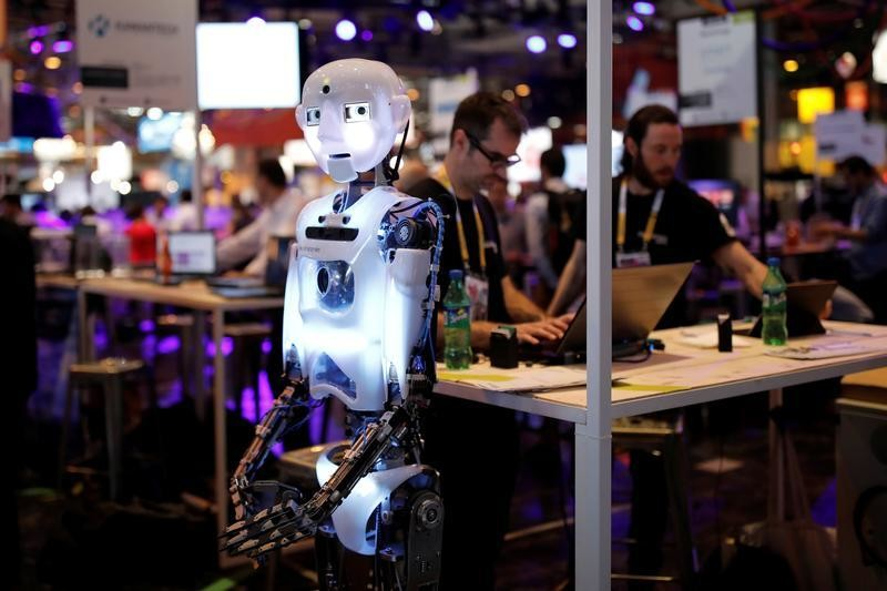 A 'RoboThespian' humanoid robot, manufactured by Engineered Arts, stands at the Viva Technology conference in Paris, France, June 15, 2017. REUTERS/Benoit Tessier - RTS177JZ