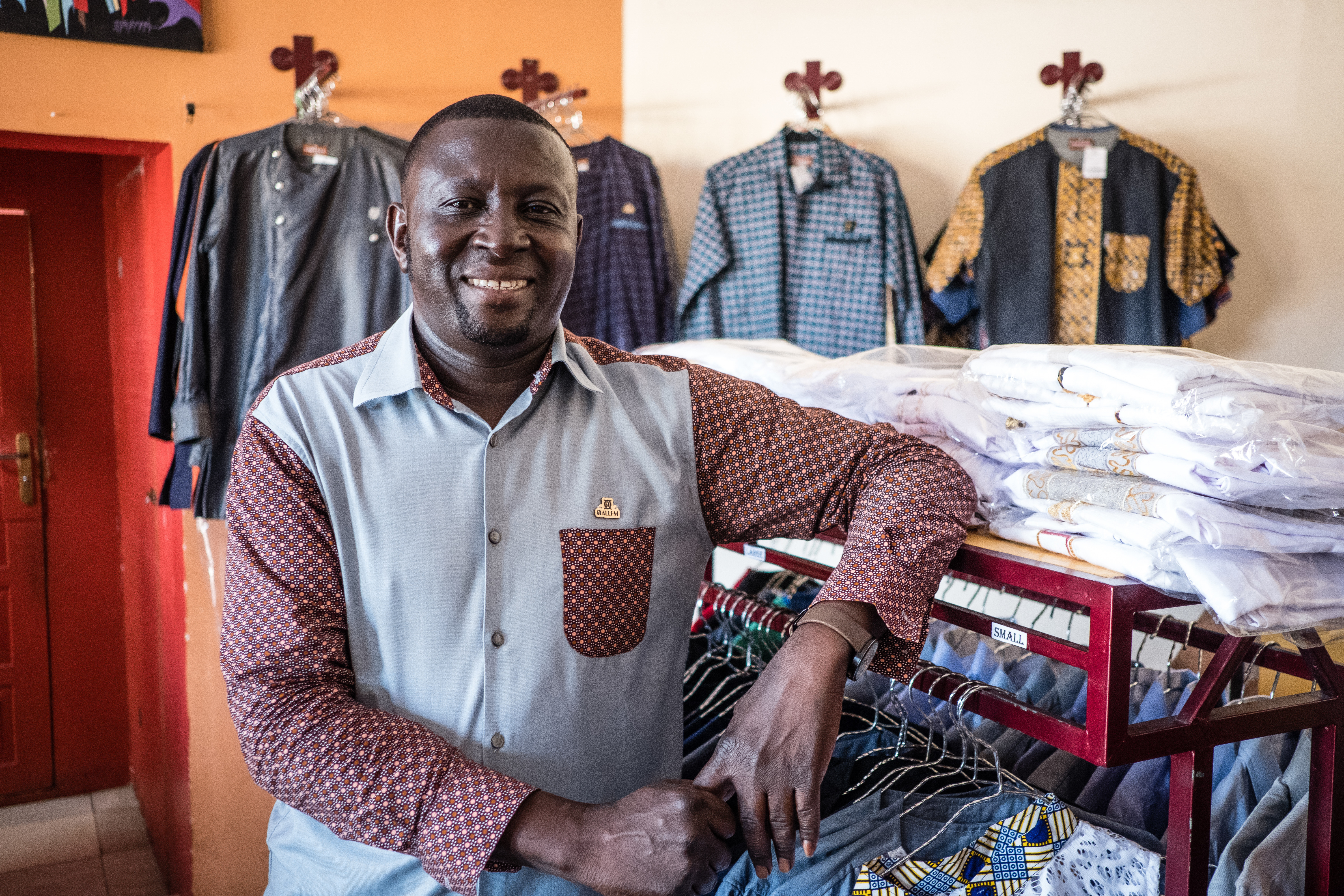 Gregory KankohDesigner and CEO Nallem clothing has retail stores in Accra where  Csquared  provided fibre broad band.