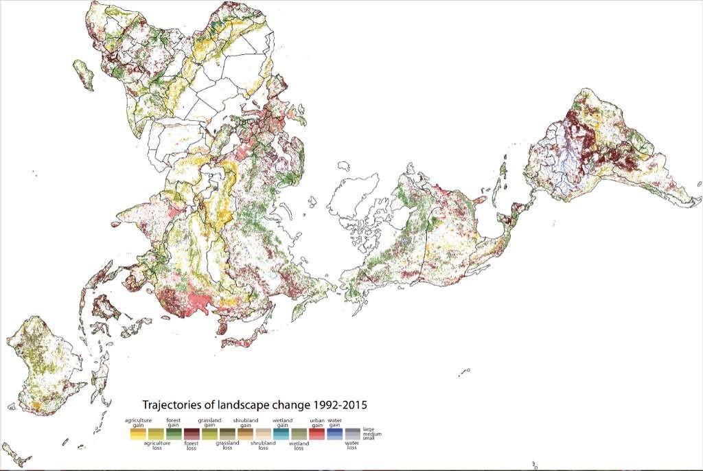 Sur cette carte établie par les géographes de l'université de Cincinnati (États-Unis), les changements de paysage intervenus entre 1992 et 2015. En blanc, les régions avec peu de changement. En plus foncé, celles ayant connu les changements les plus importants.