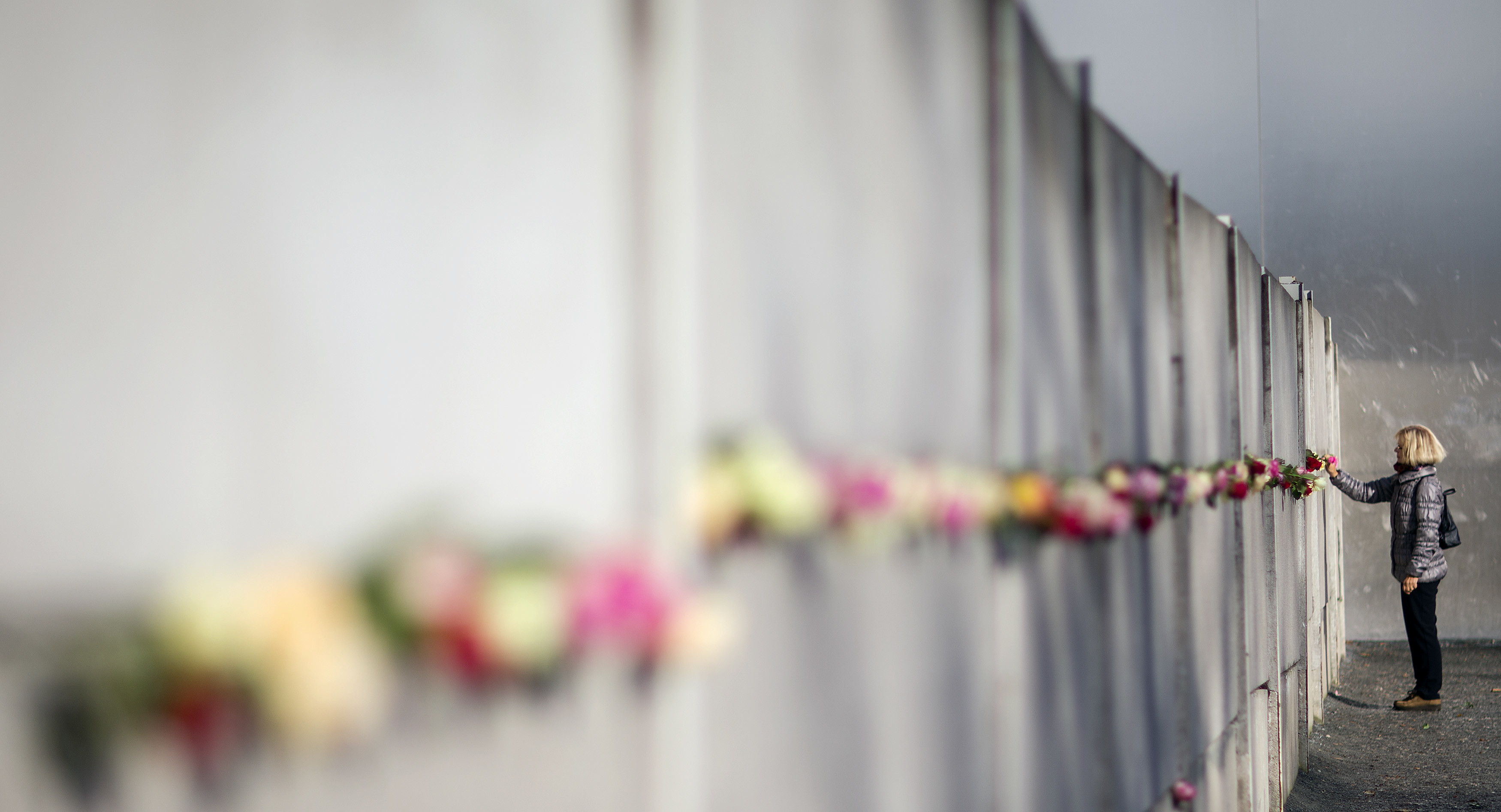 A woman places a rose at the Berlin Wall memorial in Bernauer Strasse