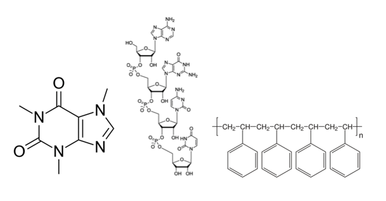 Illustration of commonly encountered chemicals such as 1,3,7-Trimethylxanthine (caffeine), deoxyribonucleic acid (DNA) and polystyrene (Styrofoam).