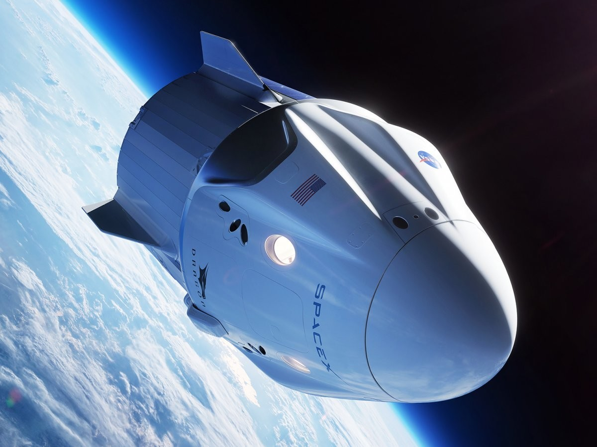 An illustration of SpaceX's Crew Dragon, also known as Dragon 2 or Dragon V2, orbiting Earth.