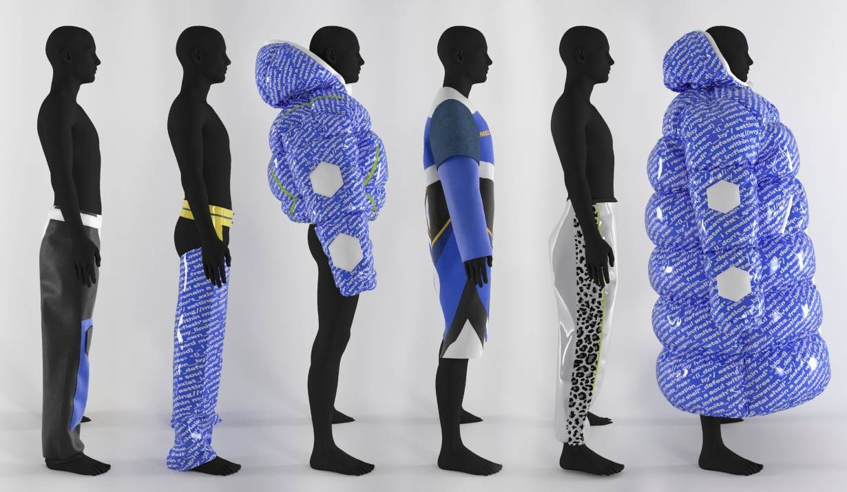 Virtual clothing designs created by fashion brand Carlings.
