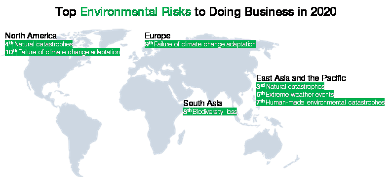 How businesses view environmental risks around the world.