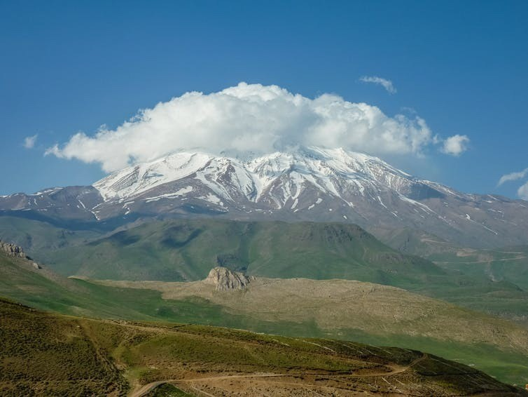 Mount Damavand is a 'potentially active' volcano, and the highest peak in Iran. Gol-e-Zard Cave is nearby.