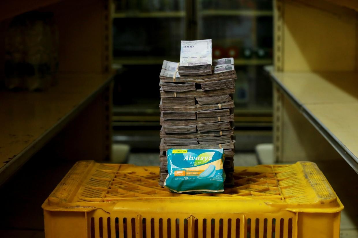 A package of sanitary pads cost 3,500,000 bolivares ($0.53) before Aug. 20.