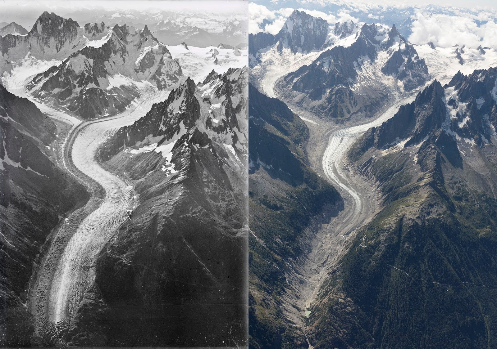 A century apart: the Mer de Glace glacier as it was in 2019, and today.