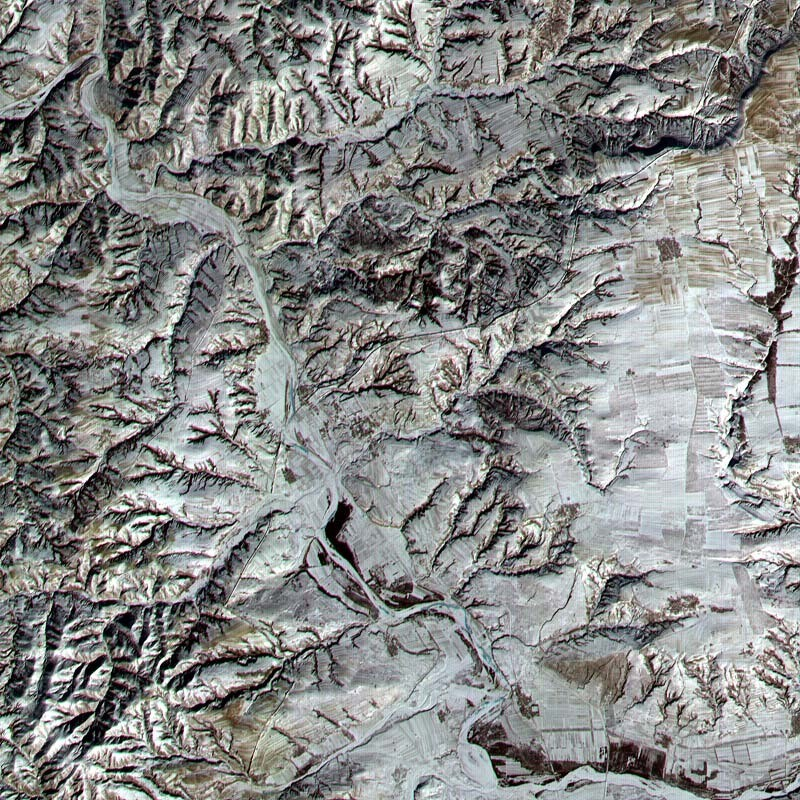 The Great Wall of China captured from space by ASTER.