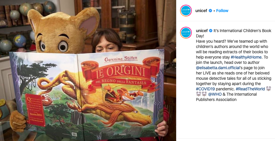 UNICEF @instagram on International Children's Book Day