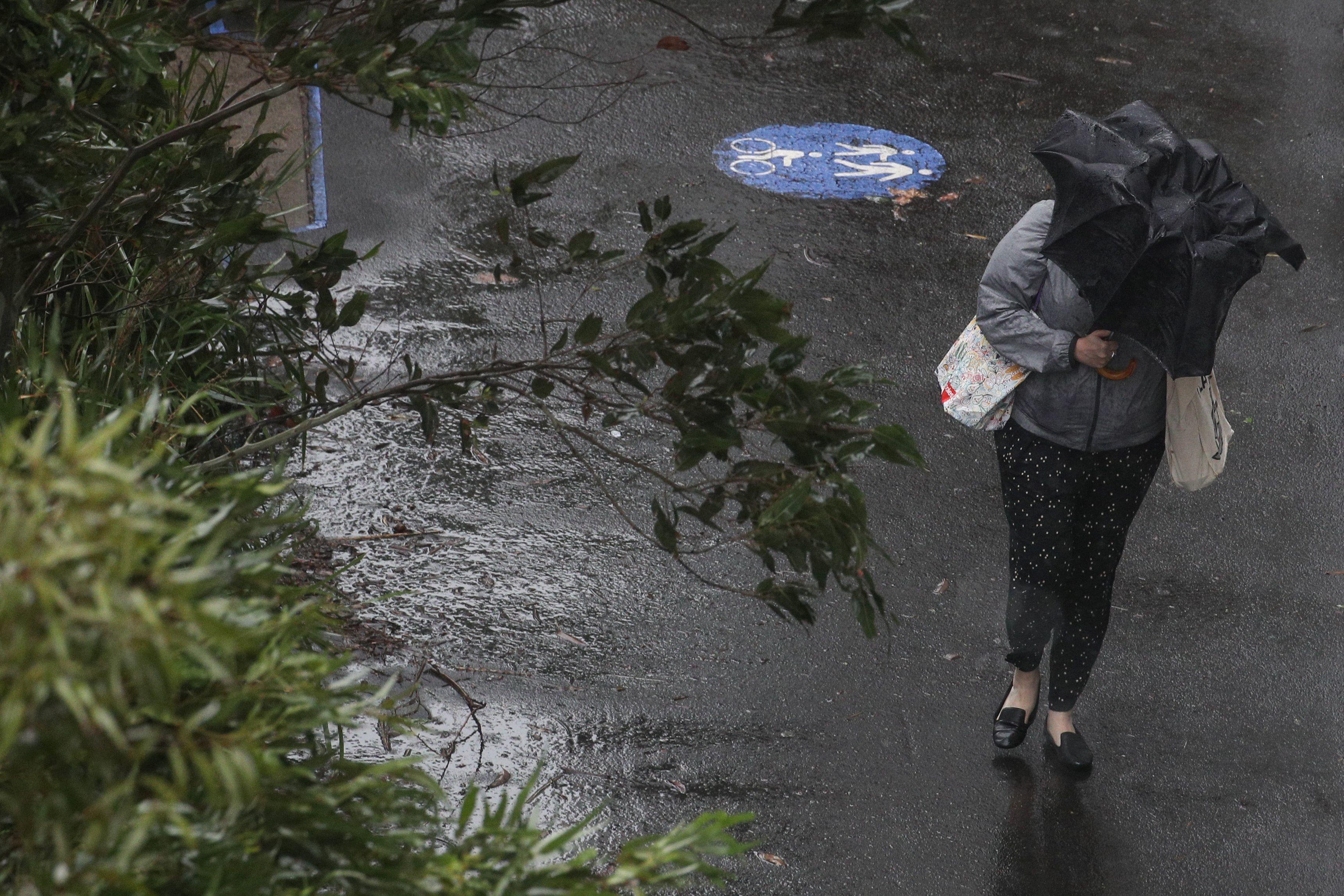 A pedestrian braves strong wind and rain in Sydney, New South Wales, Australia, February 9, 2020.  REUTERS/Loren Elliott - RC2PWE945ZMR