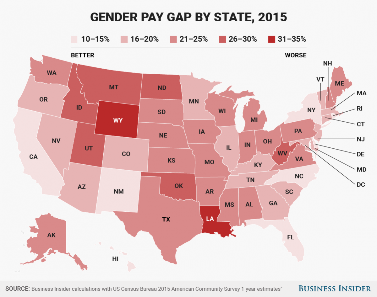 These Charts Show How Big The Pay Gap Is Between Men And Women - Us wage gap map