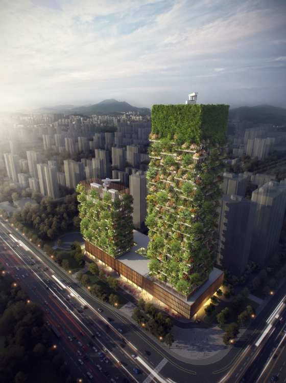 An architectural rendering of the vertical forest in Nanjing