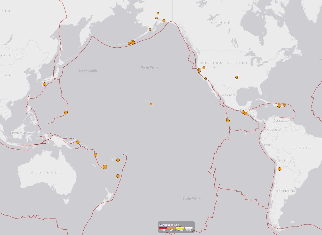 Snapshot of earthquakes recorded over 24 hours.