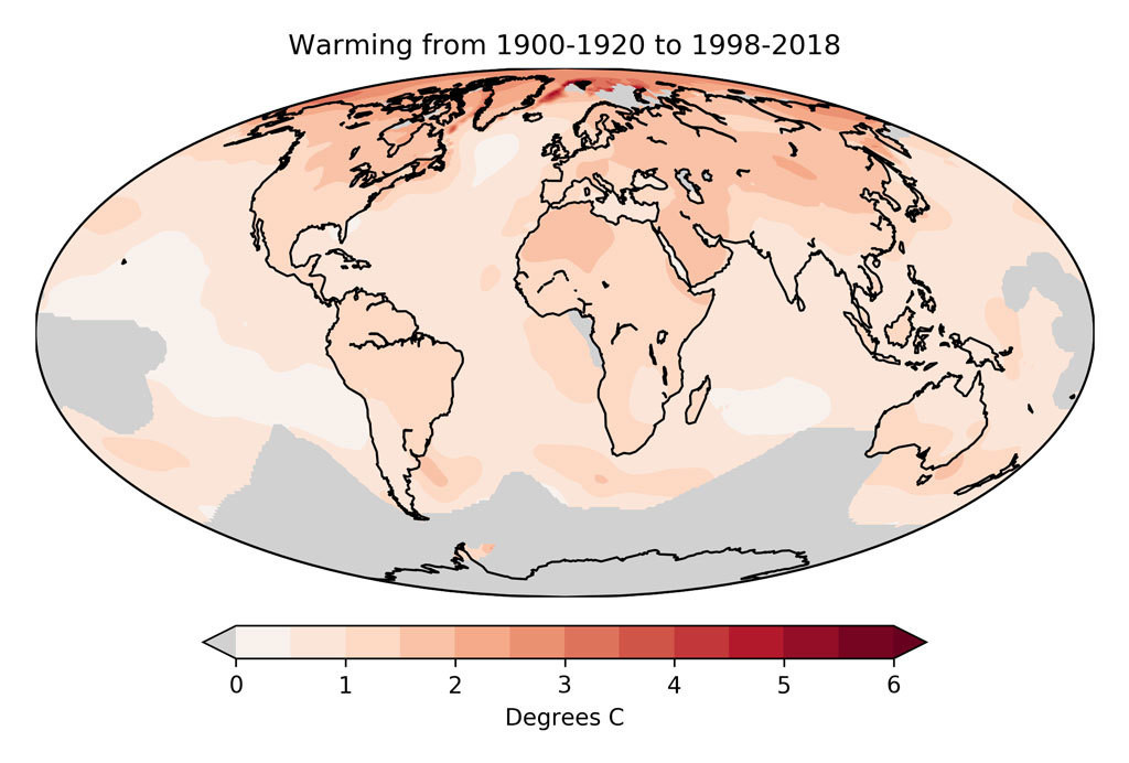 Warming between 1900-1920 and 1998-2018 based on 1 degree latitude/longitude gridded observational temperature data from Berkeley Earth.