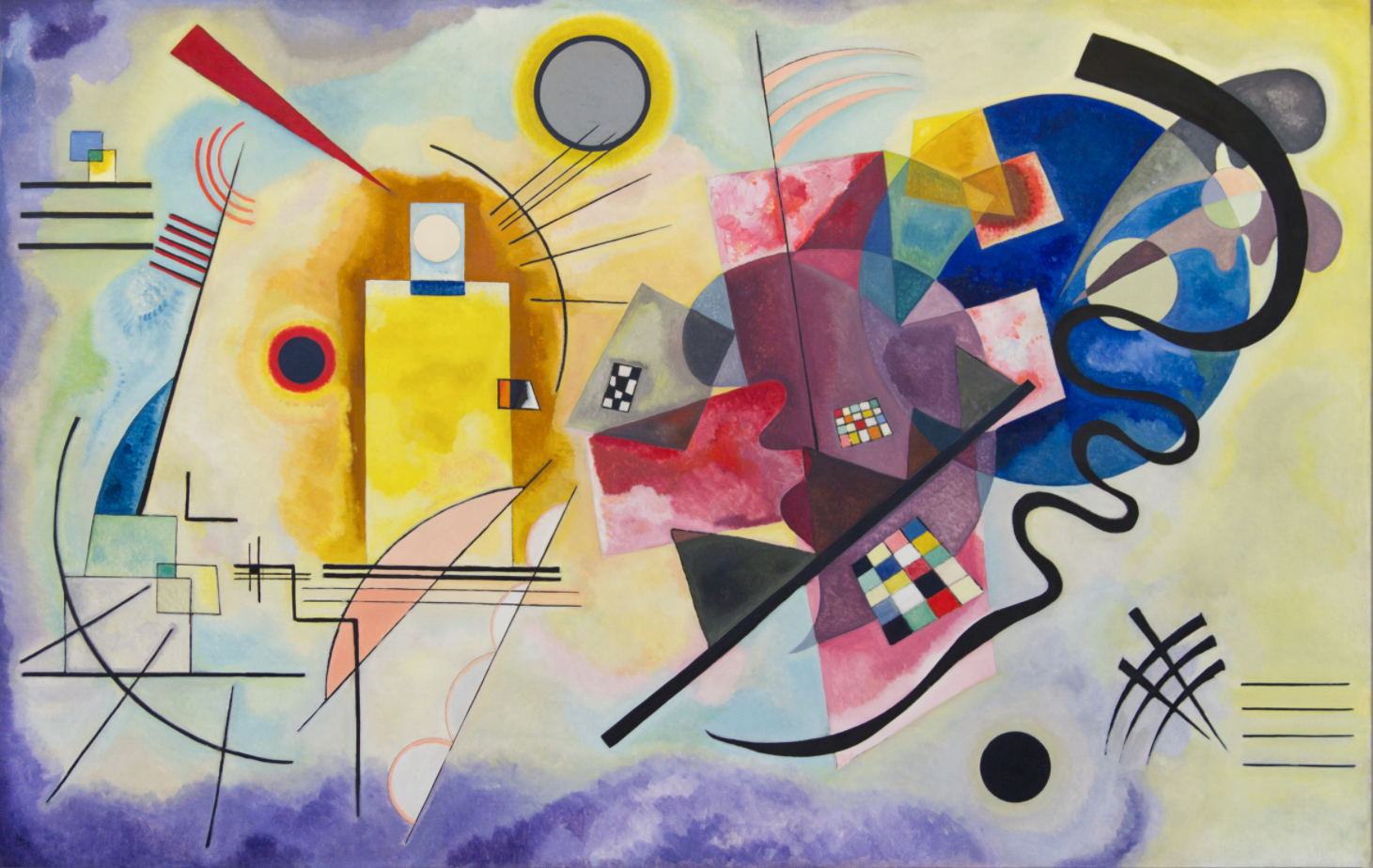 a picture of the 1925 painting 'Yellow, Red, Blue' by Kandinsky