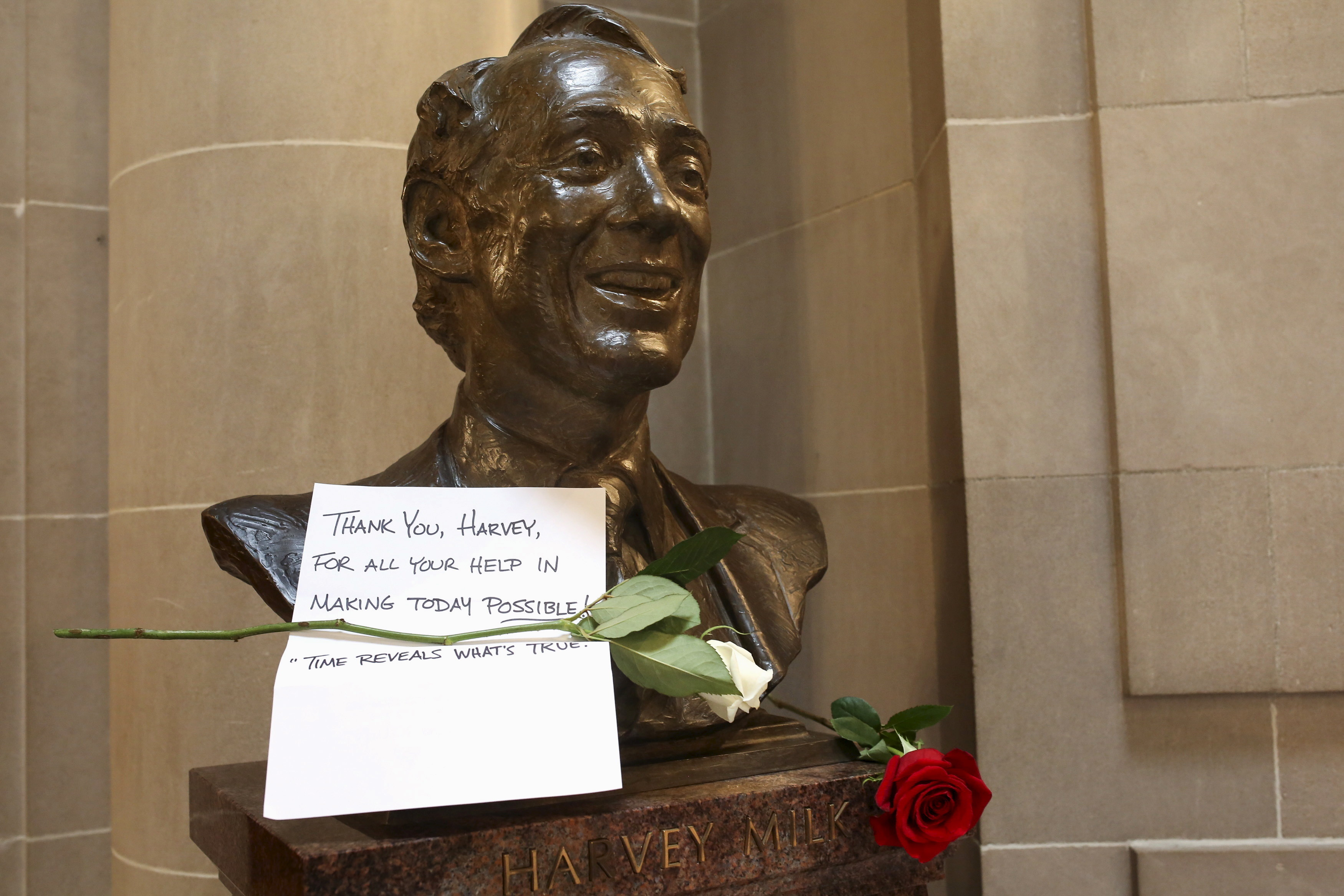 A thank you note on a bust of LBGTQ+ rights pioneer Harvey Milk.