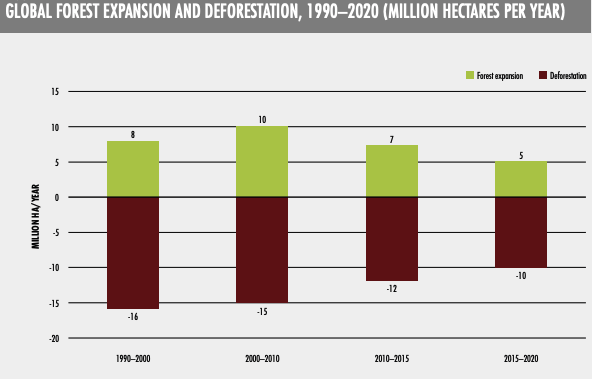 this graph shows the state of global forest expansion and deforestation from 1990 - 2020, in million hectares per year
